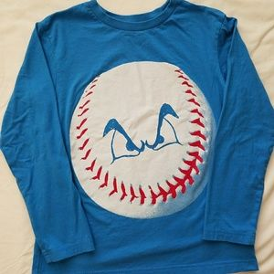 Blue long sleeve baseball shirt